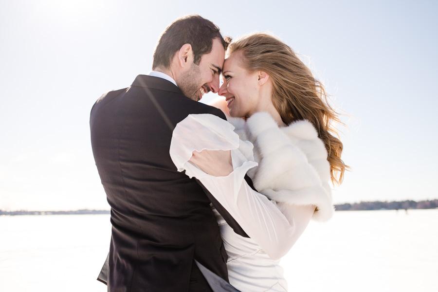 Photographe de mariage en hiver